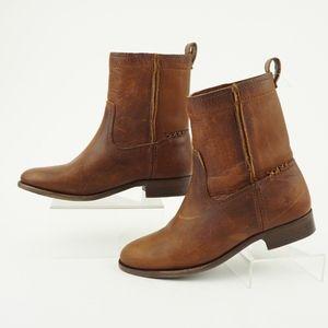 Frye Cara Short Women's Leather Boots, Cognac